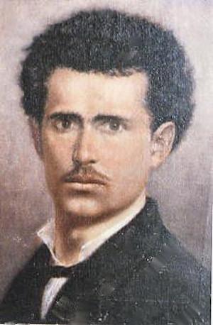 autoritratto giovanile, olio su tela ,cm. 45 x 50, di g.c. prati